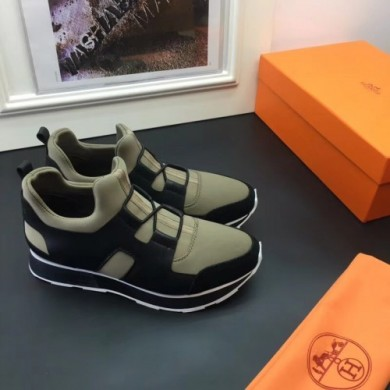 Fake Hermes Men Kaki/Noir Player Sneakers Shoes RS203216