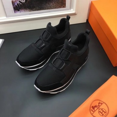 Luxury High Quality Replica Hermes Men Black Player Sneakers Shoes RS203215