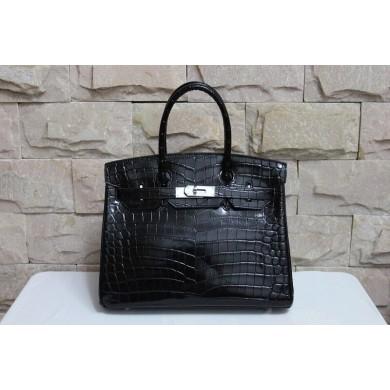 Best Hermes So Black Matte Alligator Crocodile Birkin 35cm Handstitched, So Black RS13552