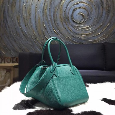 Best Quality Knockoff Hermes Lindy 26cm/30cm Taurillon Clemence Calfskin Bag Hand Stitched, Malachite Z6 RS04664