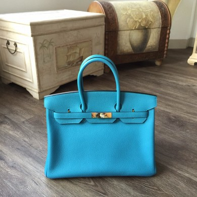 Cheap Hermes Birkin 35cm Togo Calfskin Leather Bag Gold Hardware Handstitched, Turquoise Blue 7B RS20035