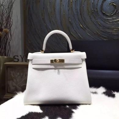 Cheap Hermes Kelly 28cm Togo Calfskin Bag Handstitched Gold Hardware, Blanc RS07383