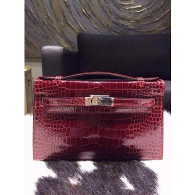 Cheap Hermes Mini Kelly Pochette 22cm CK57 Bordeaux Shiny Alligator Palladium RS09237