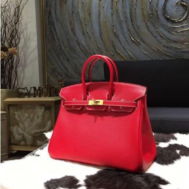 Copy AAAAA Hermes Horseshoe Birkin 25cm Epsom Calfskin Original Leather Bag Handstitched Gold Hardware, Rouge Casaque Q5/Blue Thalassa 7A Interior RS03740