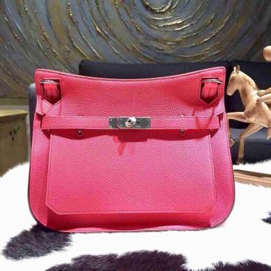 Copy Hermes Jypsiere 28cm Gypsy Bag Rose Lipstick U5 Togo Palladium RS11386