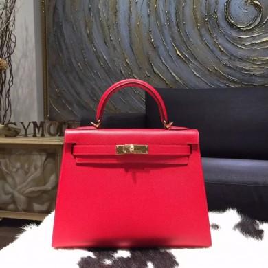 Copy Hermes Kelly 32cm Sellier Rigide Bag Epsom Calfskin Handstitched Gold Hardware Handstitched, Rouge Casaque Q5 RS15990