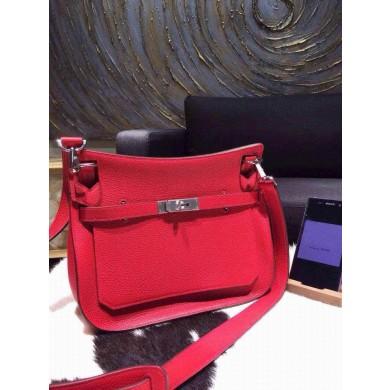 Designer Replica Hermes Jypsiere 28cm Gypsy Bag Rouge Casaque Q5 Togo Palladium RS00309