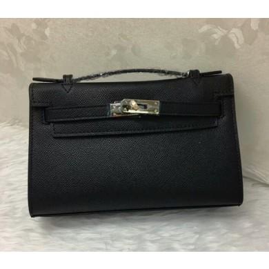Fake Hermes Mini Kelly Pochette 22cm Box Calfskin Leather Handstitched, Noir Black RS15877