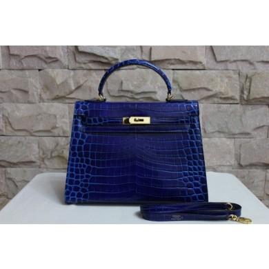 Fake Hermes Shiny Alligator Birkin 35cm Bag Hand Stitched Palladium Hardware, Blue Tempete N7 RS01834