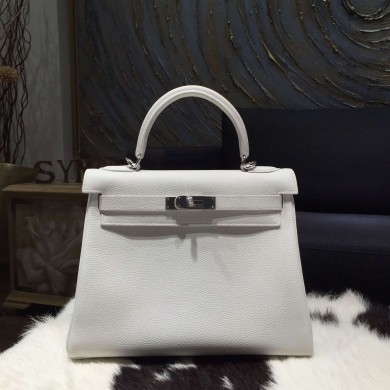 Fashion Fake Hermes Kelly 28cm Togo Calfskin Bag Handstitched Palladium Hardware, Blanc RS02718