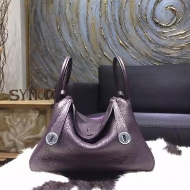 Hermes Bi-Color Lindy 30cm Taurillon Clemence Calfskin Bag Hand Stitched, Raisin CK59, Ultraviolet 5L RS03743