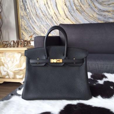 Hermes Birkin 25cm Togo Calfskin Bag Gold Hardware Handstitched, Black Noir RS10093