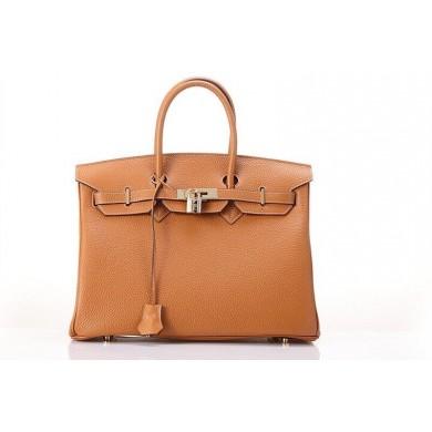 Hermes Birkin 25cm Togo Calfskin Bag Handstitched Gold Hardware, Silver CK37 RS16670