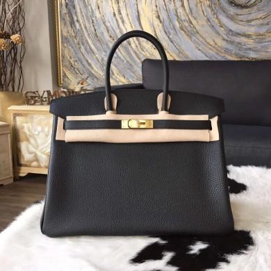 Hermes Birkin 30cm/35cm Togo Calfskin Bag Handstitched Gold Hardware, Noir CK89 RS04457