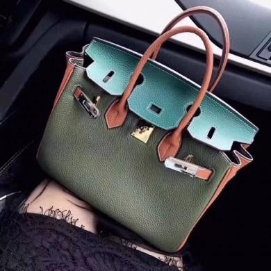 Hermes Birkin 30cm Epsom Calfskin Bag Handstitched Palladium Hardware, Blue Atoll 3P/Rose Confetti 1Q RS08392