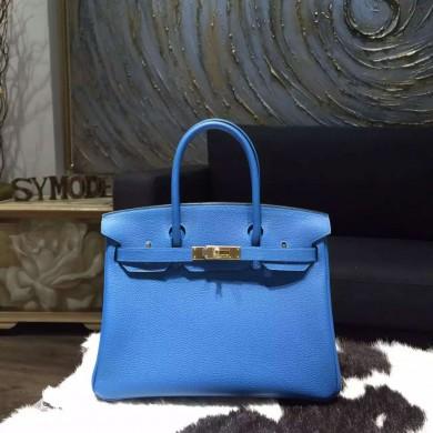 Hermes Birkin 30cm Taurillon Clemence Bag Handstitched, Mykonos 7Q RS04454
