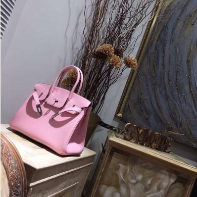 Hermes Birkin 30cm Taurillon Clemence Bag Handstitched Palladium Hardware, Rose Sakura 3Q RS19544