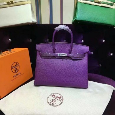 Hermes Birkin 30cm Taurillon Clemence Original Leather Bag Handstitched, Ultraviolet 5L RS16080