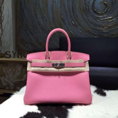Hermes Birkin 30cm Togo Calfskin Bag Handstitched Palladium Hardware, Pink 5P RS19015
