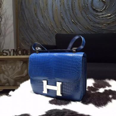 Hermes Constance 23cm Matte Alligator Crocodile Original Leather Handstitched Palladium Hardware, Mykonos 7Q RS05331
