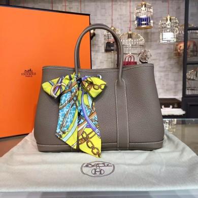 Hermes Garden Party 30cm Togo Calfskin Leather Palladium Hardware High Quality, Etoupe RS17305