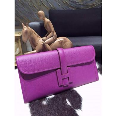 Hermes Jige Elan Clutch 29cm Epsom Calfskin Handstitched, Anemone P9 RS00305