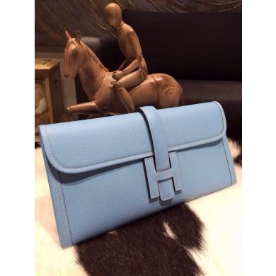 Hermes Jige Elan Clutch 29cm Epsom Calfskin Handstitched, Celeste 7N RS02770