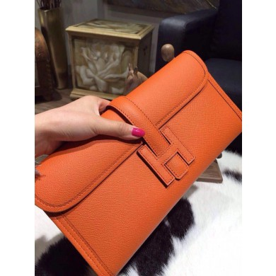 Hermes Jige Elan Clutch 29cm Epsom Calfskin Handstitched, Orange CK93 RS18785