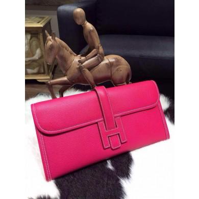 Hermes Jige Elan Clutch 29cm Epsom Calfskin Handstitched, Rose Tyrien E5 RS17664