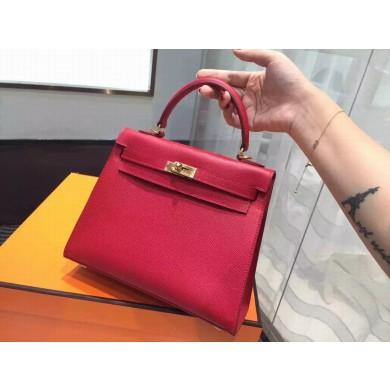 Hermes Kelly 25cm Epsom Calfskin Original Leather Bag Hand Stitched Gold Hardware, Rouge Casaque Q5 RS00083