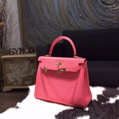 Hermes Kelly 25cm Togo Calfskin Bag Handstitched Gold Hardware, Rose Lipstick U5 RS11317