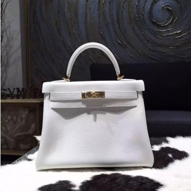 Hermes Kelly 28cm/32cm Togo Calfskin Bag Handstitched Gold Hardware, Blanc RS06806