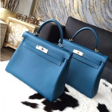 Hermes Kelly 28cm/32cm Togo Calfskin Bag Handstitched Palladium Hardware, Blue de Galice S7 RS01033