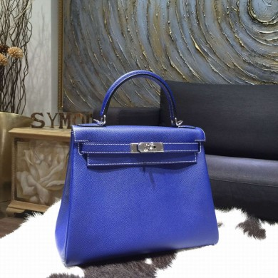 Hermes Kelly 28cm Epsom Calfskin Original Leather Bag Handstitched Palladium Hardware, Blue Electric 7T with Mykonos 7Q Interior and White Stitching RS04848