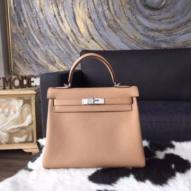 Hermes Kelly 28cm Togo Calfskin Bag Handstitched Palladium Hardware, Tabac Camel CK24 RS06912