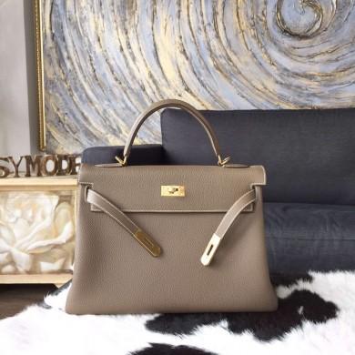 Hermes Kelly 32cm Togo Calfskin Bag Handstitched Gold Hardware, Etoupe CK18 RS18173
