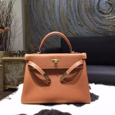 Hermes Kelly 32cm Togo Calfskin Bag Handstitched Gold Hardware, Gold CC37 RS02323