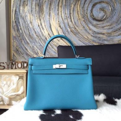 Hermes Kelly 32cm Togo Calfskin Bag Handstitched Palladium Hardware, Blue Turquoise 7B RS10567