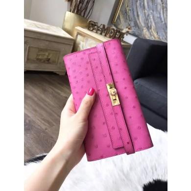 Hermes Kelly Wallet Autruche Ostrich Skin Handstitched Gold Hardware, Fuschia Pink 5J RS06676