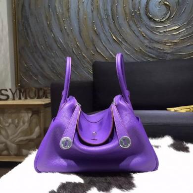 Hermes Lindy 26cm/30cm Taurillon Clemence Bag Hand Stitched Palladium Hardware, Purple Iris 9K RS18411