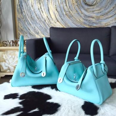 Hermes Lindy 26cm/30cm Taurillon Clemence Calfskin Bag Handstitched, Blue Atoll 3P RS01938