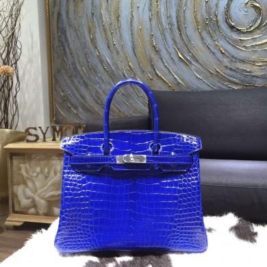 Hermes Shiny Alligator Crocodile Birkin 30cm Palladium Hardware Handstitched, Electric Blue 7T RS04484