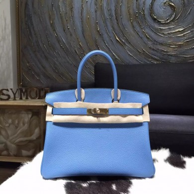 High Imitation Hermes Birkin 30cm Taurillon Clemence Calfskin Original Leather Bag Handstitched Gold Hardware, Blue Paradise 2T RS14467