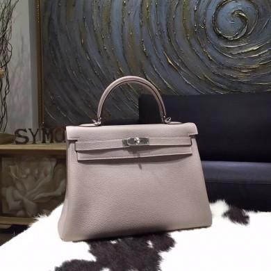 High Quality Replica Hermes Kelly 32cm Togo Calfskin Original Leather Bag Handstitched Gold Hardware, Argile 1F RS14646