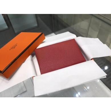 Hot Hermes Calvi Card Holder Case Handstitched Taurillon Clemence Calfskin, Rouge Garance RS14816