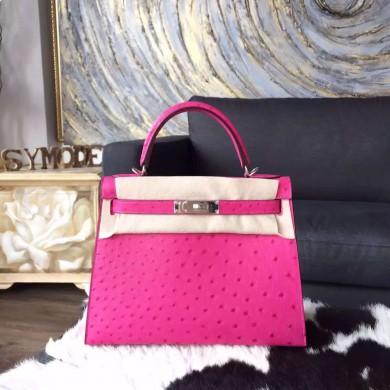 Imitation Hermes Autruche Ostrich Kelly 32cm Sellier Rigide Bag Handstitched Palladium Hardware, Fuschia Pink 5J RS16236