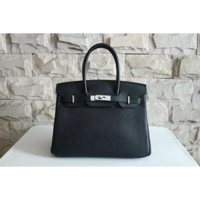 Imitation Hermes Birkin 25cm Lizard Skin Bag Silver Hardware Handstitched, Noir CK89 RS12362