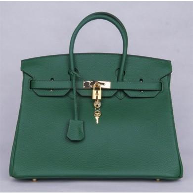 Imitation Hermes Birkin 25cm Lizard Skin Bag Gold Hardware Handstitched, Vert Emeraude 6Q RS14078