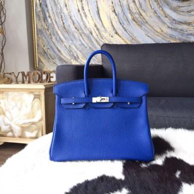 Imitation Hermes Birkin 25cm Togo Calfskin Bag Handstitched Palladium Hardware, Blue Electric 7T RS20334
