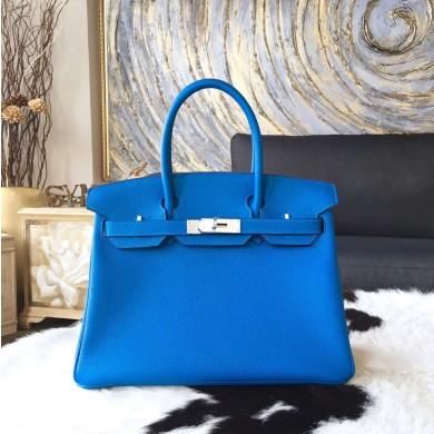 Imitation Hermes Birkin 30cm Taurillon Clemence Bag Handstitched Palladium Hardware, Mykonos 7Q RS06635